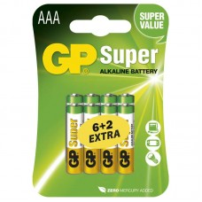 GP Super alkáli elem R03 (mikro, AAA) 6+2db/bliszter