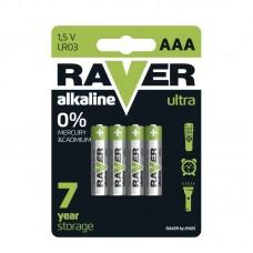 Raver alkáli elem R03 (mikro, AAA) 4db/bliszter