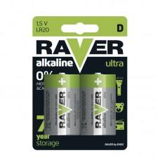 Raver alkáli elem R20 (góliát, D) 2db/bliszter