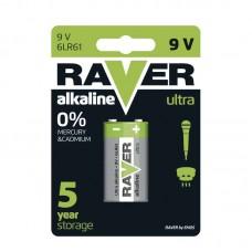Raver alkáli elem 6F22 (9V) 1db/bliszter