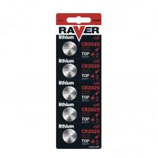 Raver lithium gombelem CR2025 5db/bliszter