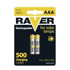 Raver SOLAR NiMH akkumulátor HR03 (AAA) 400mAh 2db/bliszter