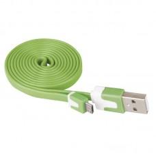 EMOS lapos töltő- és adatkábel 1m (USB 2.0) - zöld