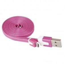 EMOS lapos mikro USB töltő- és adatkábel 1m (USB 2.0) - pink/rózsaszín
