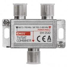 EMOS beltéri antenna közösítő (2x be, 1x ki, F csatlakozó) TV/SAT