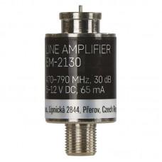 EMOS árnyékolt vonalerősítő (1x be, 1x ki, F csatlakozó) AMP-30